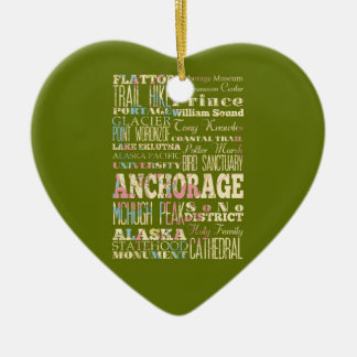 Attractions & Famous Places of Anchorage, Alaska. Ceramic Heart Ornament
