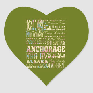 Attractions & Famous Places of Anchorage, Alaska. Heart Sticker