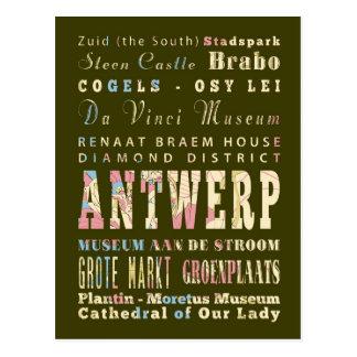 Attractions & Famous Places of Antwerp, Belgium. Postcard
