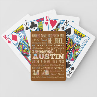 Attractions & Famous Places of  Austin, Texas. Bicycle Playing Cards