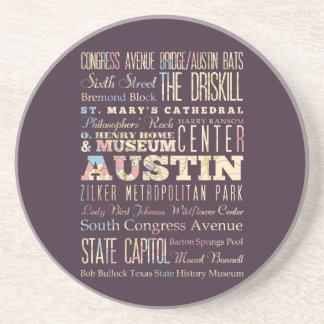 Attractions & Famous Places of Austin, Texas. Drink Coasters