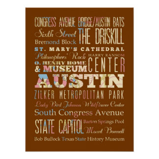Attractions & Famous Places of  Austin, Texas. Poster