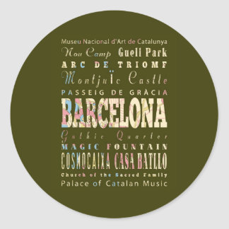 Attractions & Famous Places of Barcelona, Spain. Round Sticker