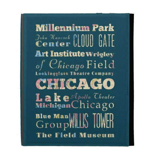 Attractions & Famous Places of Chicago, Illinois. iPad Folio Covers