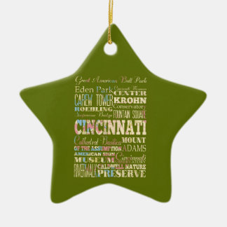 Attractions & Famous Places of Cincinnati, Ohio. Ceramic Ornament