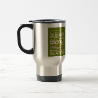 Attractions & Famous Places of Cincinnati, Ohio. 15 Oz Stainless Steel Travel Mug
