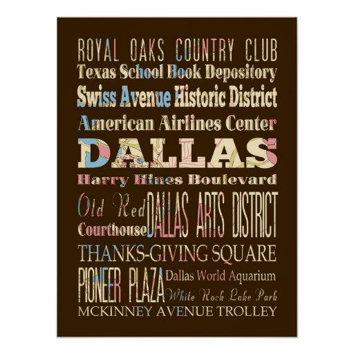 Attractions & Famous Places of Dallas, Texas. Poster