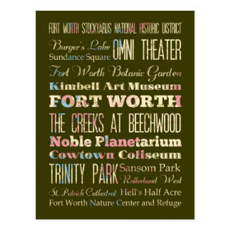 Attractions & Famous Places of Fort Worth, Texas. Postcard