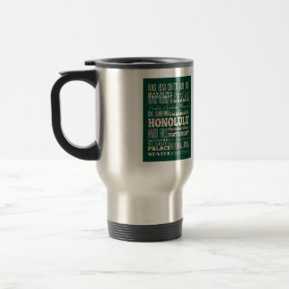Attractions & Famous Places of Honolulu, Hawaii. 15 Oz Stainless Steel Travel Mug