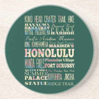 Attractions & Famous Places of Honolulu, Hawaii. Beverage Coaster