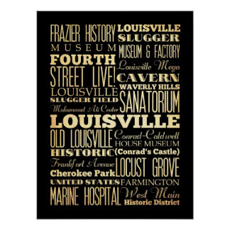 Attractions & Famous Places of Louisville,Kentucky Poster