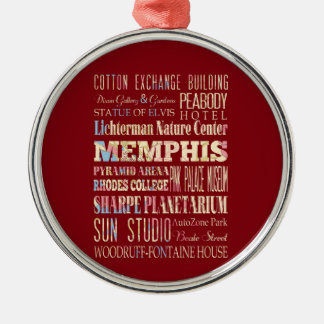 Attractions & Famous Places of Memphis, Tennessee. Metal Ornament