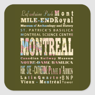 Attractions & Famous Places of Montreal, Québec. Square Sticker