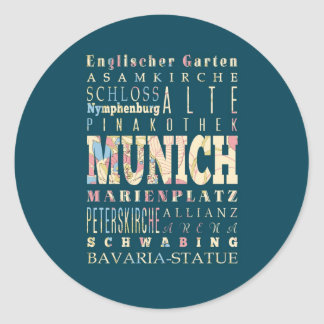 Attractions & Famous Places of Munich,Germany. Round Sticker