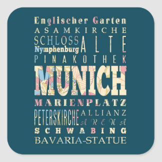 Attractions & Famous Places of Munich,Germany. Square Sticker