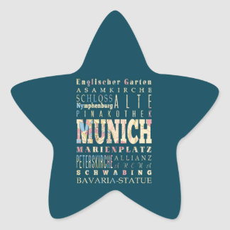 Attractions & Famous Places of Munich,Germany. Star Sticker