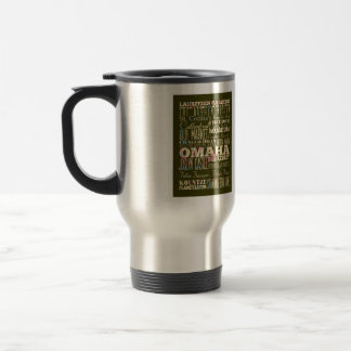 Attractions & Famous Places of Omaha, Nebaska. 15 Oz Stainless Steel Travel Mug