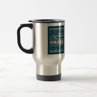 Attractions & Famous Places of Omaha, Nebraska. 15 Oz Stainless Steel Travel Mug