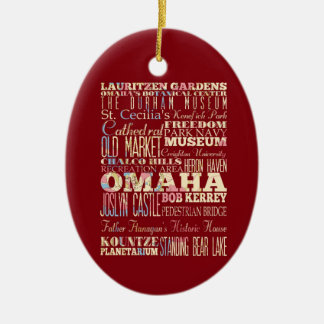 Attractions & Famous Places of Omaha, Nebraska. Ceramic Oval Ornament