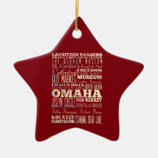 Attractions & Famous Places of Omaha, Nebraska. Ceramic Star Ornament