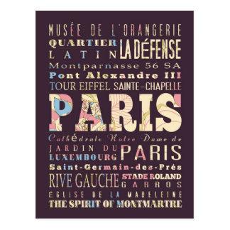 Attractions & Famous Places of Paris, France. Postcard