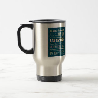 Attractions & Famous Places of San Antonio, Texas. 15 Oz Stainless Steel Travel Mug