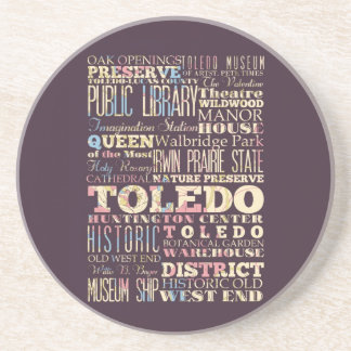 Attractions & Famous Places of Toledo, Ohio. Beverage Coasters