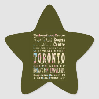 Attractions & Famous Places of Toronto, Canada. Star Sticker
