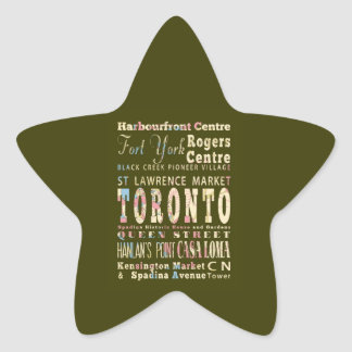 Attractions Famous Places of Toronto Canada Star Stickers