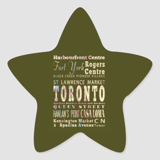 Attractions & Famous Places of Toronto, Canada. Star Stickers