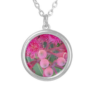 Attractive Australian Pink Gum Flower Design Silver Plated Necklace