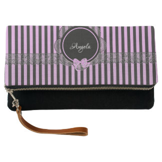 Attractive Black Striped Fold-Over Clutch