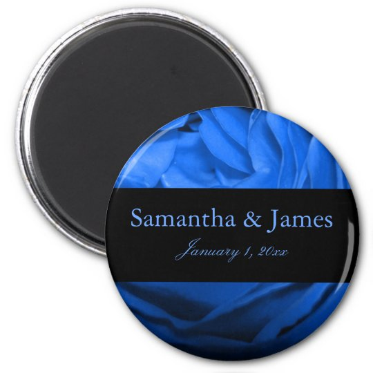 Attractive Blue Rose Personal Wedding Magnet