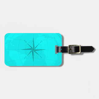 Attractive Bright Teal World Map with Compass Rose Luggage Tag