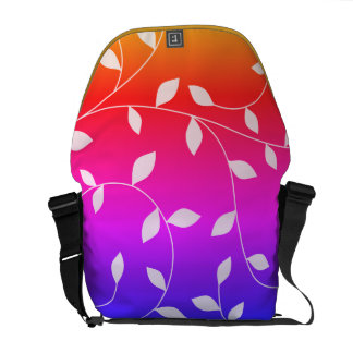 attractive gradient cute leaves messenger bag