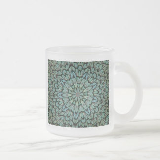 Attractive Peacock Feathers Kaleidoscope Frosted Glass Coffee Mug