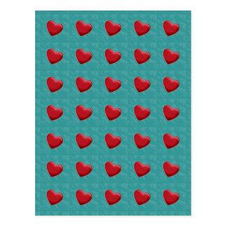 Attractive Red Hearts Grey Blue Pop Art Postcard