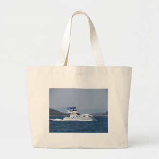 Attractive Small Motorboat Large Tote Bag