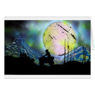 ATV Four Wheeler Space Landscape Spray Paint Art Card
