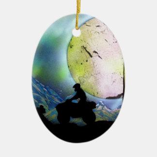 ATV Four Wheeler Space Landscape Spray Paint Art Ceramic Ornament