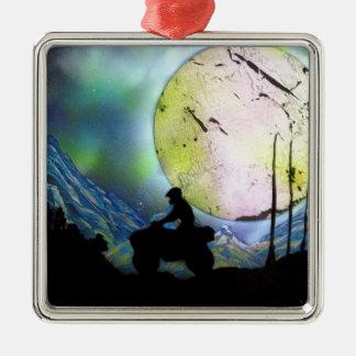 ATV Four Wheeler Space Landscape Spray Paint Art Metal Ornament