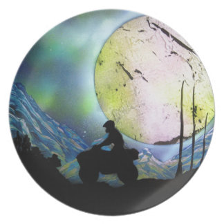 ATV Four Wheeler Space Landscape Spray Paint Art Party Plates