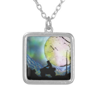 ATV Four Wheeler Space Landscape Spray Paint Art Silver Plated Necklace
