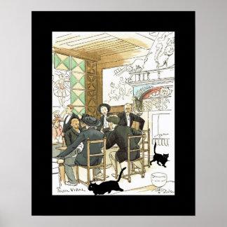 Au Chat Noir ~ At The Black Cat ~ Pierre Vidal Poster