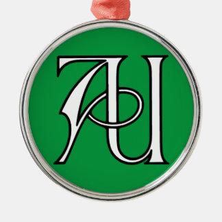 AU Monogram Silver-Colored Round Ornament