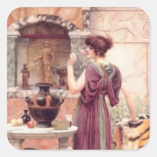 Au tombeau de jardin, Pompeii par John Godward Stickers Carrés