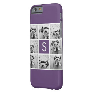 Aubergine and White Photo Collage Custom Monogram Barely There iPhone 6 Case