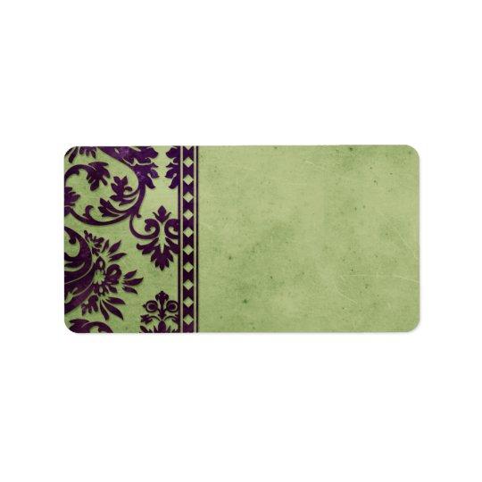 Aubergine & Olive Vintage Damask Lace Fancy Label