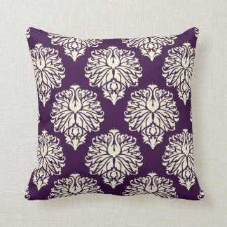 Aubergine Southern Cottage Damask Throw Pillow