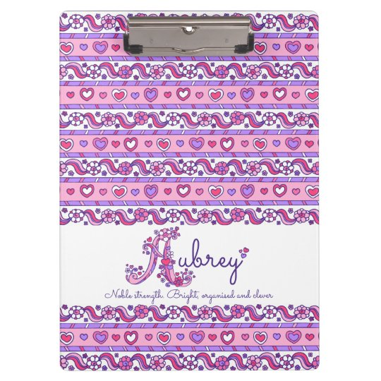 Aubrey name meaning hearts doodles clipboard | Zazzle.ca